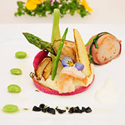 delicious catering dish with asparagus from a multi-course menu at a business event